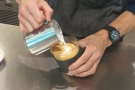 I love watching baristas at work, building up the latte art...