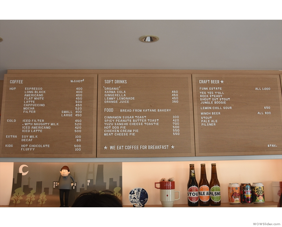 The menu, meanwhile, is on the wall behind/above the counter.