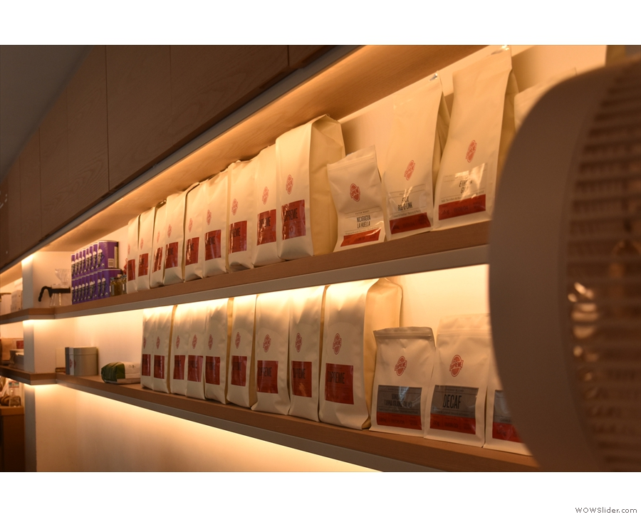 ... which has shelves behind, lined with bags of coffee, seen here in my most recent visit.