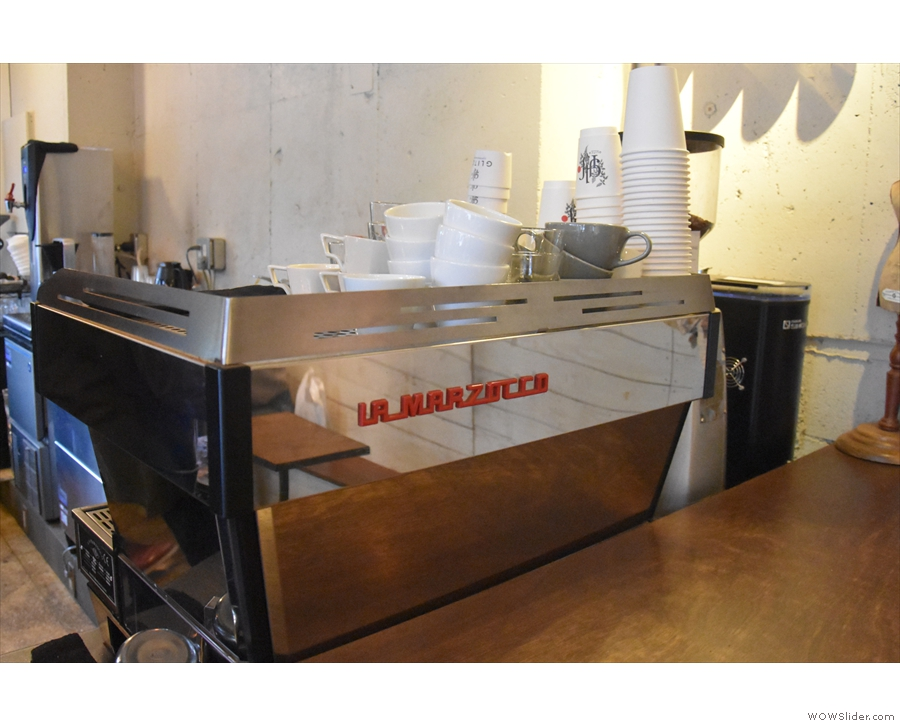 The espresso side of the operation is down the right-hand side of the counter.