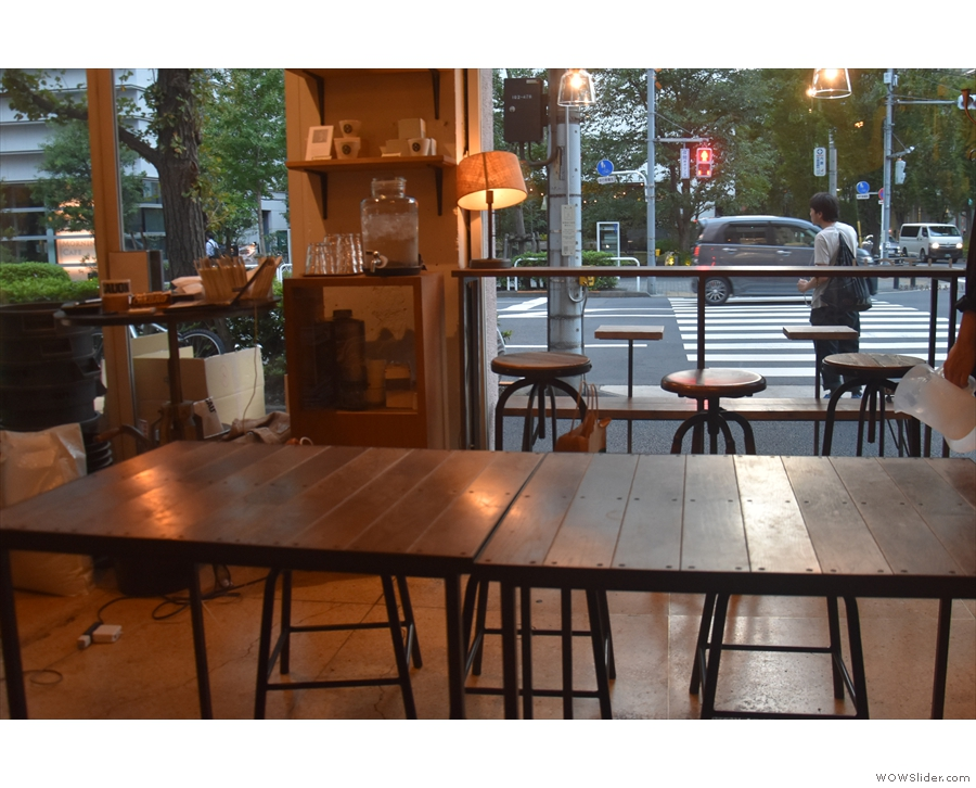 The view (in 2019) looking across the communal table to the window-bar beyond.