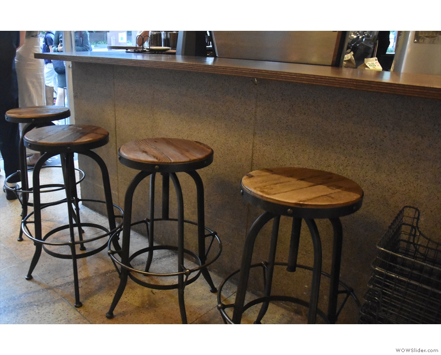 When I returned in 2019, there were four stools down the side of the counter.