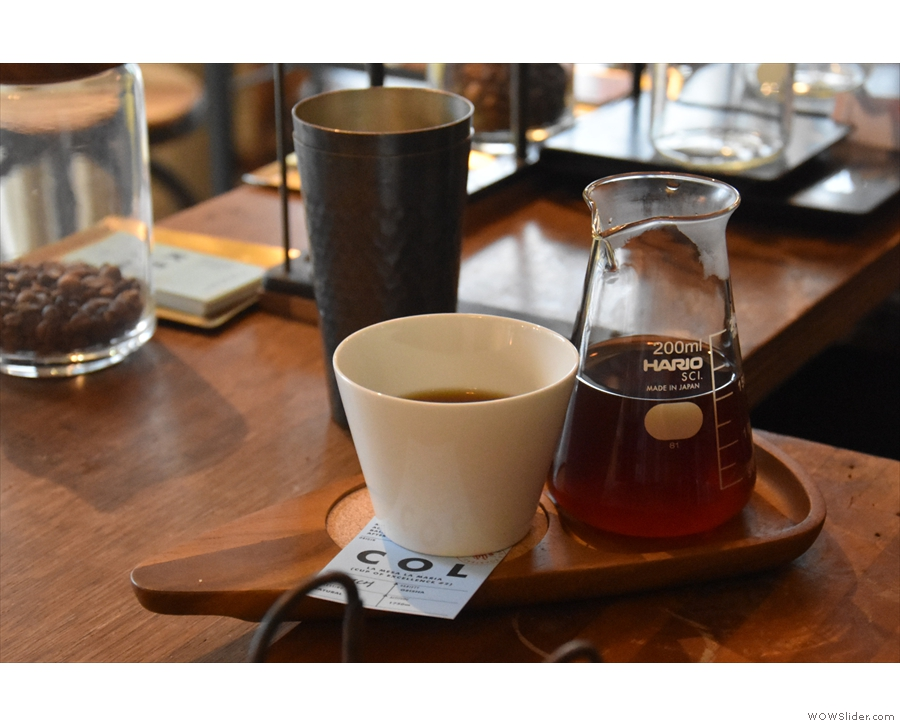 An example of a single-origin, served in a carafe, with a cup on the side.