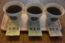 The tasting flight on my return last weekend. Debate raged on twitter: three coffees...