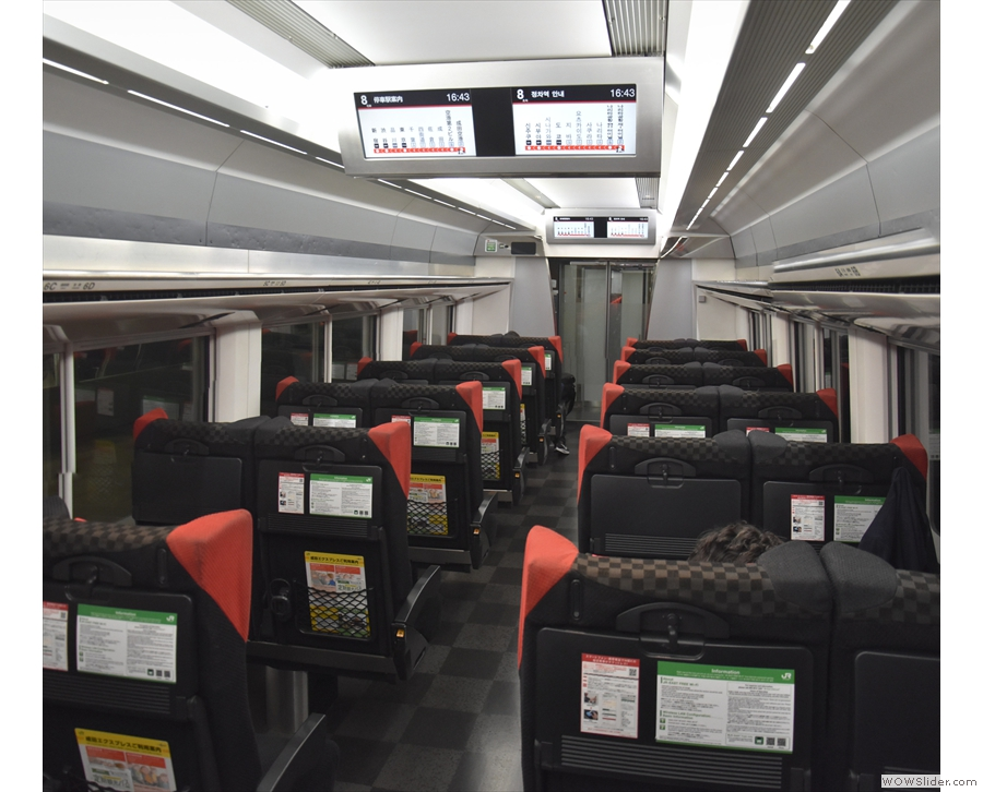The very swish interior of the Narita Express (seen here in 2018 on my way into Tokyo).
