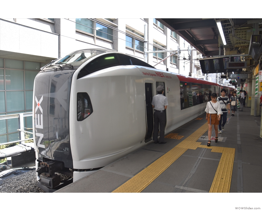 There are plenty of options, including the Narita Express, seen here at Shibuya Station.