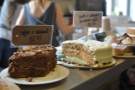... and cake (coffee+walnut, carrot+orange)...
