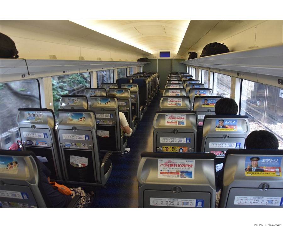 The spacious interior of the Keisei Skyliner.