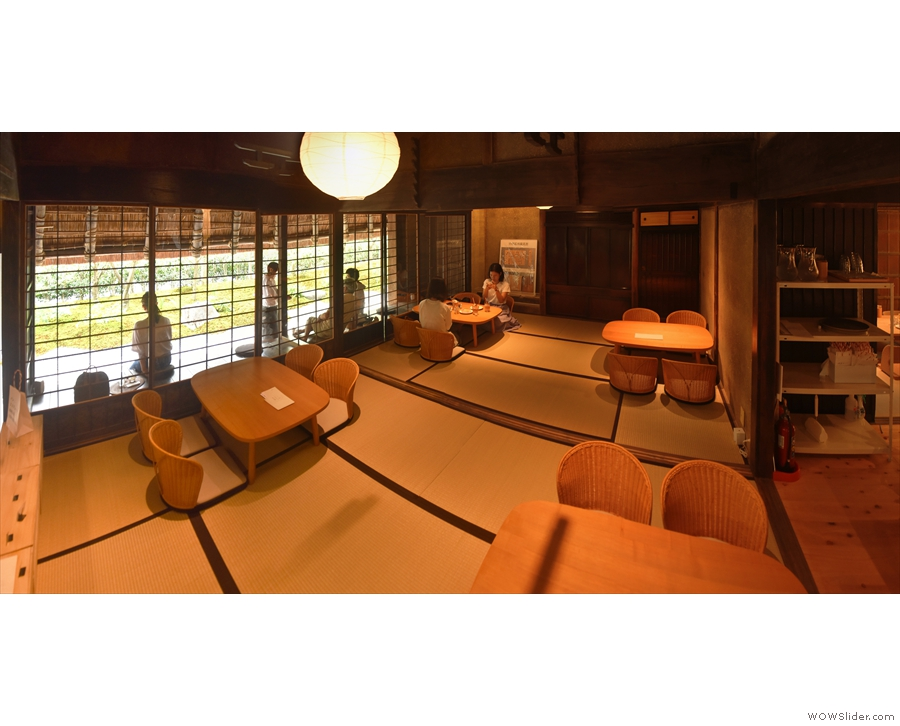 A panoramic view of the front room which runs the width of Bread, Espresso &.