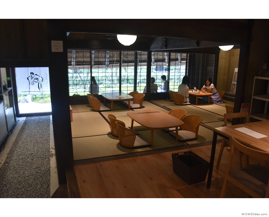 To the left, at the front, is a large room with traditional, Japanese tables.
