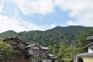 The magnificent hills west of Arashiyama, Kyoto, the backdrop for a wonderful coffee shop.