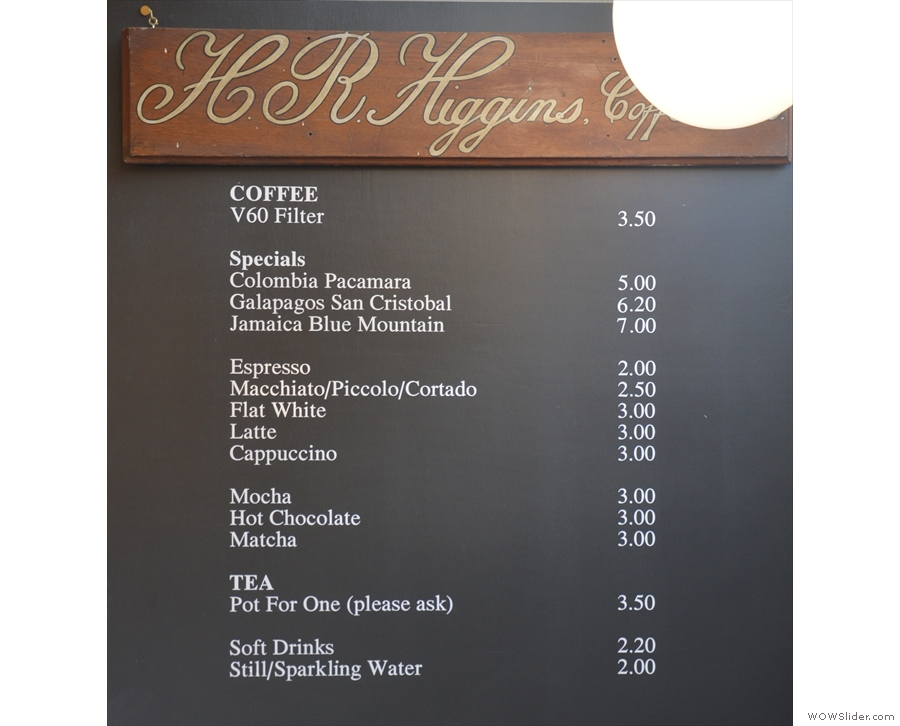 ... where you'll find the concise coffee menu to the right.