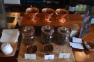 ... plus a row of V60s at the front, with a range of beans on offer.