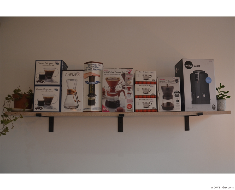 There's another shelf, dedicated to coffee-making equipment, in the bay window.