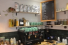 The espresso side of the operation, with its La Marzocco Linea, is on the left...
