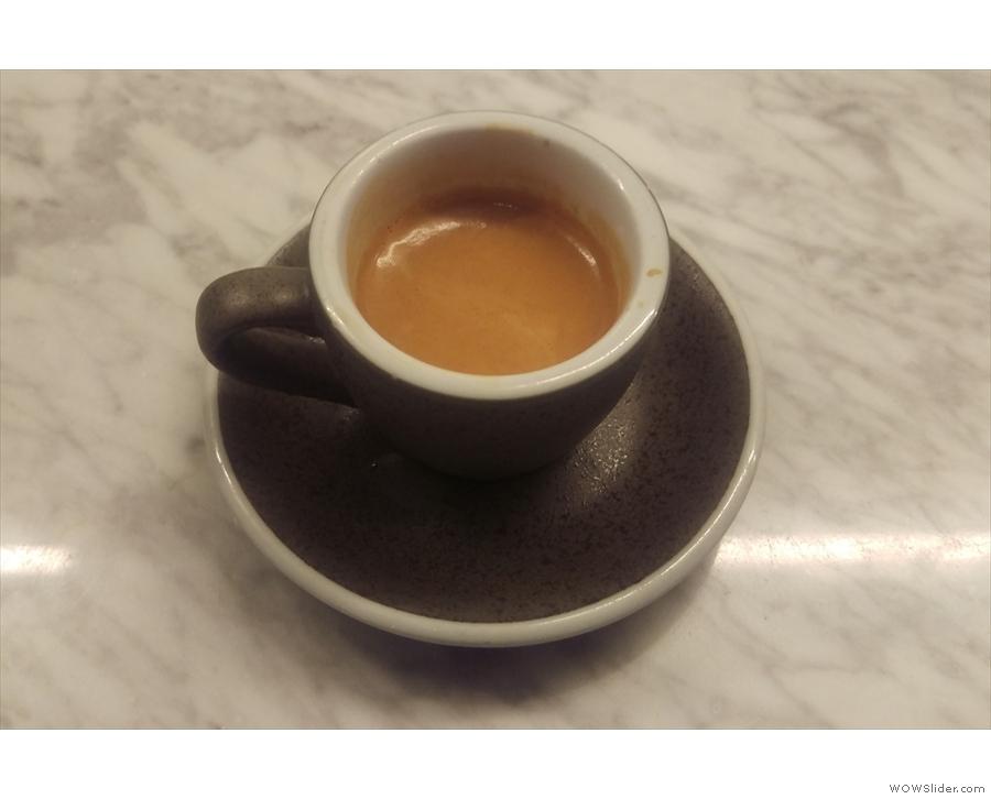 ... settling for a shot of the single-origin Brazilian espresso...