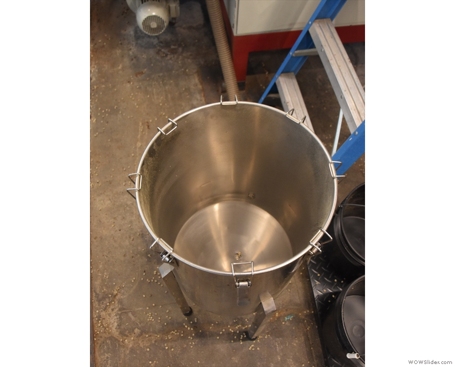 Instead a vacuum system is used. The beans are placed in this hopper. They are then...