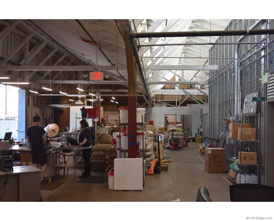 When you do get inside, the roastery stretches away to the back, a birght, airy space.