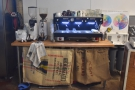 At the front is office space, plus an esprsso machine & lab, where the cupping took place.