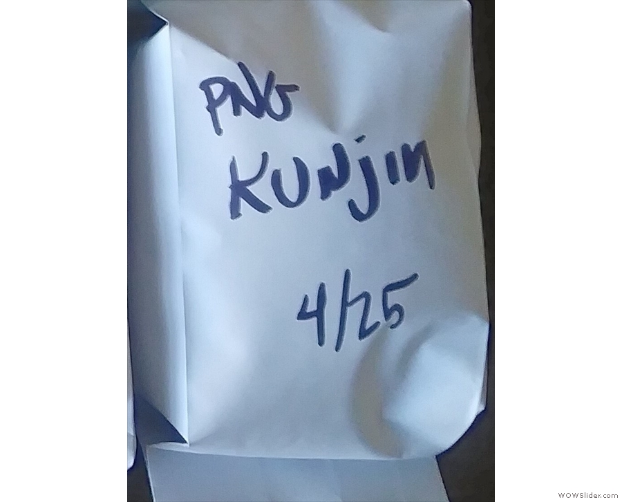 Hiver also gave me a sample of the Papua New Guinea I saw being roasted that day.