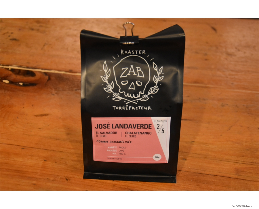... and an El Salvador single-origin roasted by Zab.