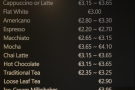 ... and the coffee menu as well.