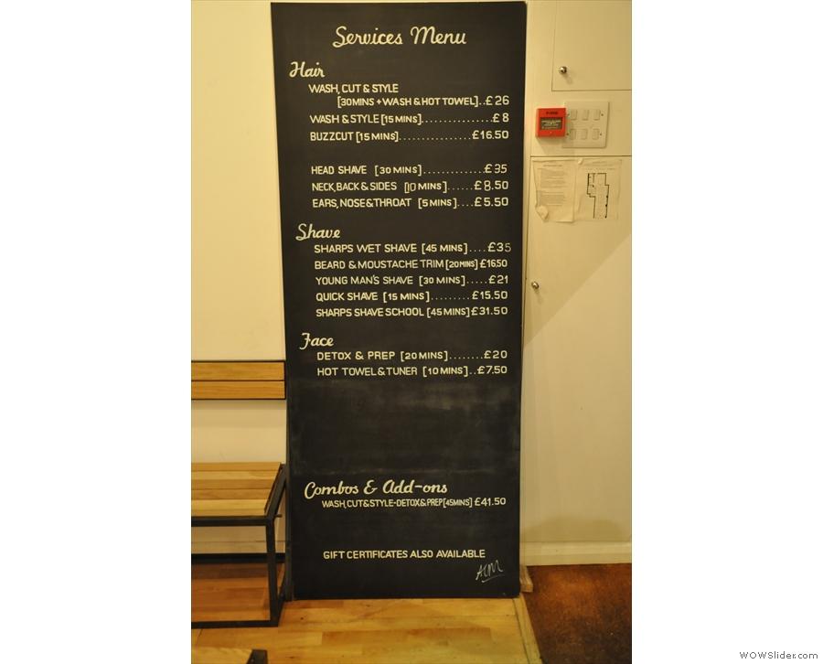 Talking of menus, let's not forget Sharps!