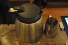 The filter machine dispenses into this vacuum pot...