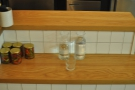 This place is full of nice touches, like this shelf for the water bottles.