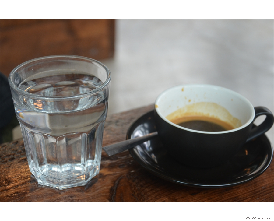 Here's my espresso, served with a glass of water...