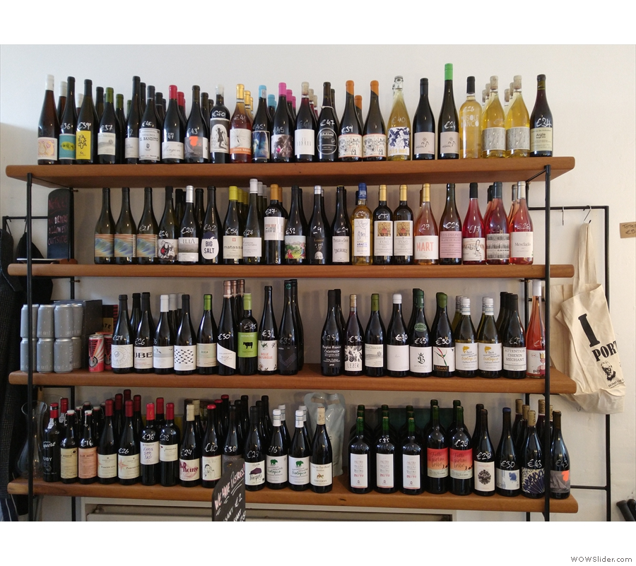 ... while on the right is the other string to First Draft's bow, the extensive wine selection.