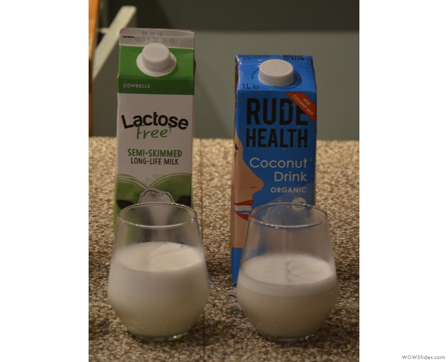 ... lactose-free (semi-skimmed) milk and the coconut milk (which was already separating).