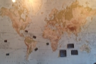 There's also a map on the right-hand wall, showing where the coffee is from.