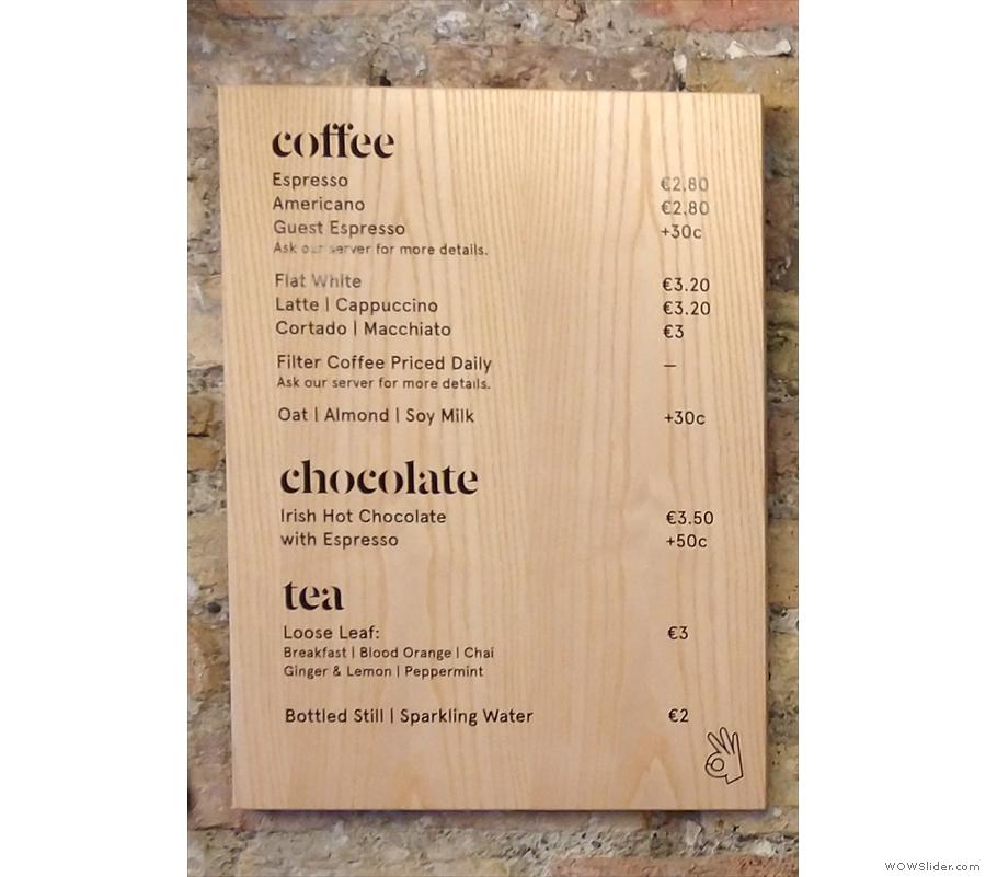 ... is the drinks menu...