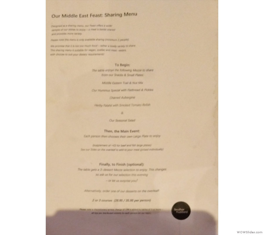 ... and a Middle East Feast sharing menu. I was alone, so had to make do with two of...