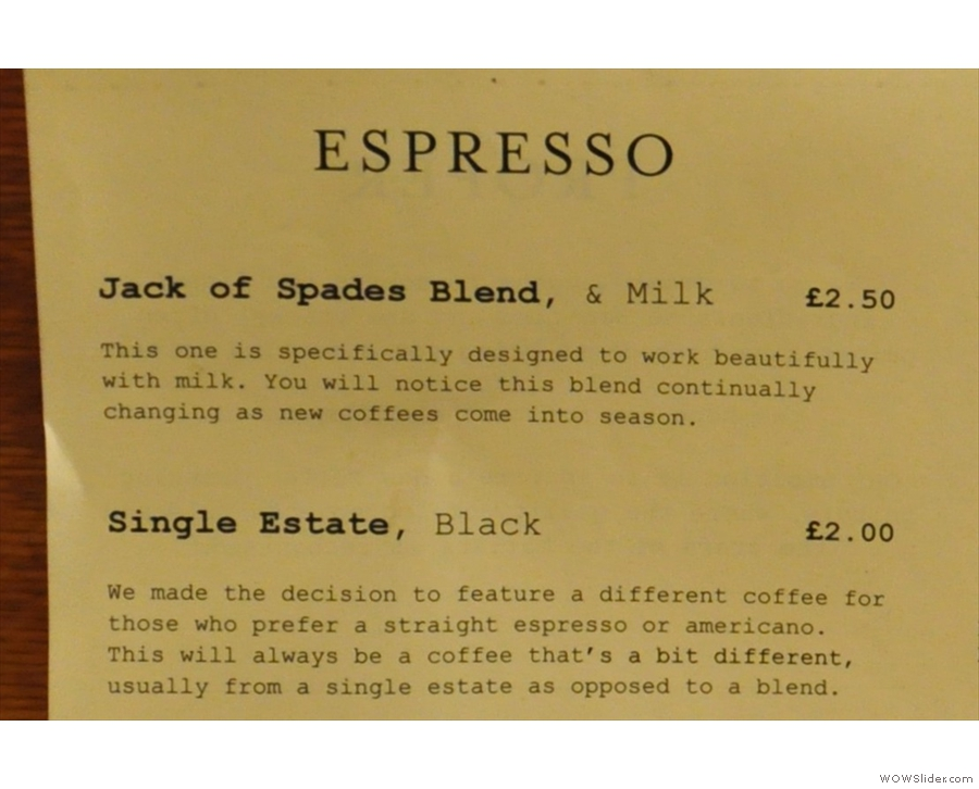 And in more detail: the espresso...