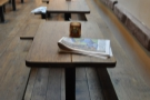 An arty shot of all the tables in a row.