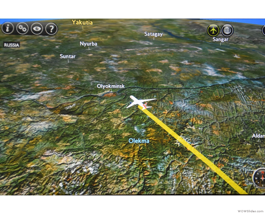 I left us flying somewhere over Russia, an accurate description of much of the flight!