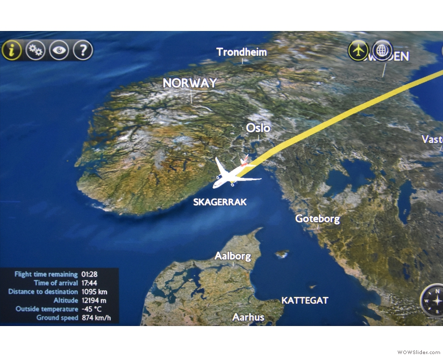 Our route takes us parallel to the southern coast of Norway.