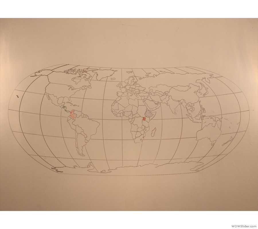Finally, on the right-hand wall, a map showing where the current coffee is from.