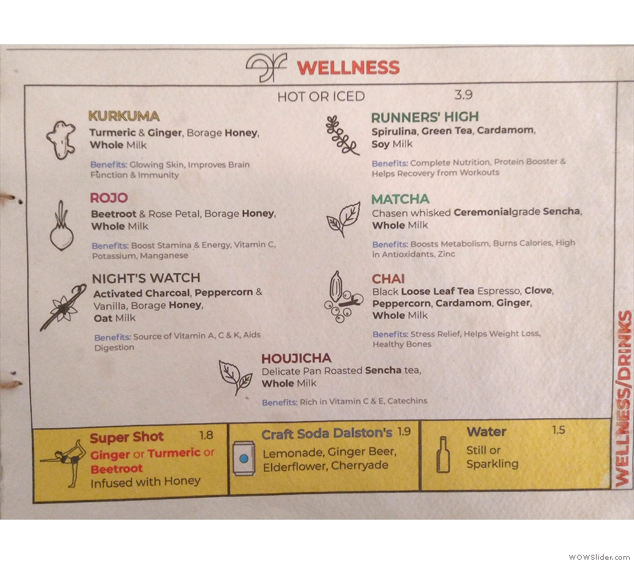 ... while the third and final page has the wellness drinks.