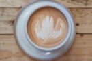 ... ceramic cup, made by a pottery in East London. Nice latte art.