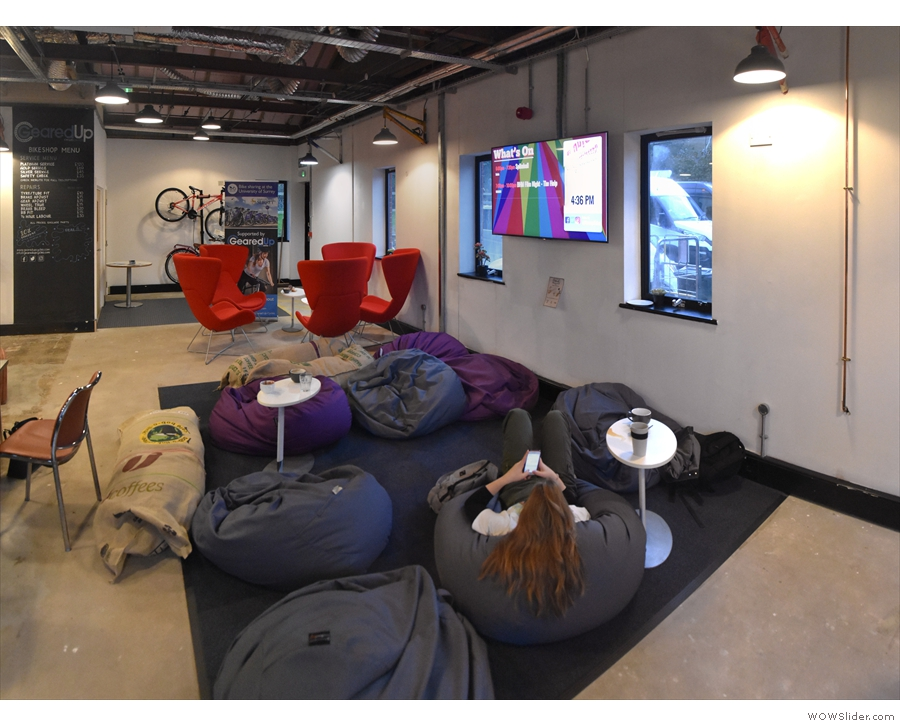 ... while if the sofas are taken, the bean bags are also ideal for lounging.