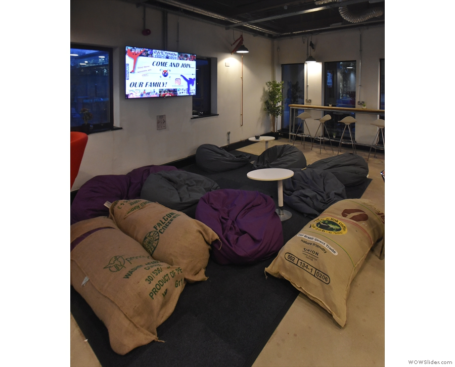 The bean bags (and stuffed coffee sacks), seen from the other side. Finally there are...