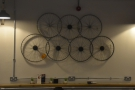 The bike shop explains the bike-themed decoration. This, from the back wall...
