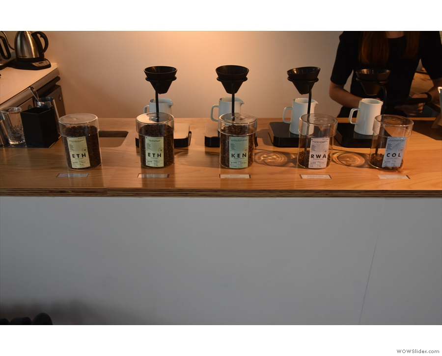 Each single-origin has its own V60, dedicated scales and serving jug.