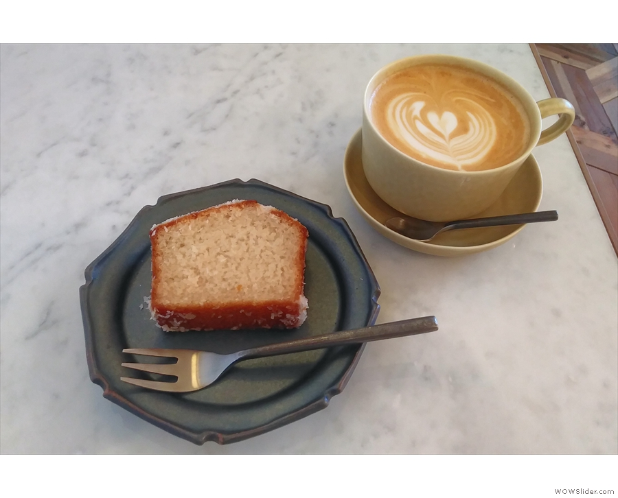 I started out with a slice of the vegan, gluten-free coconut bread and a latte...
