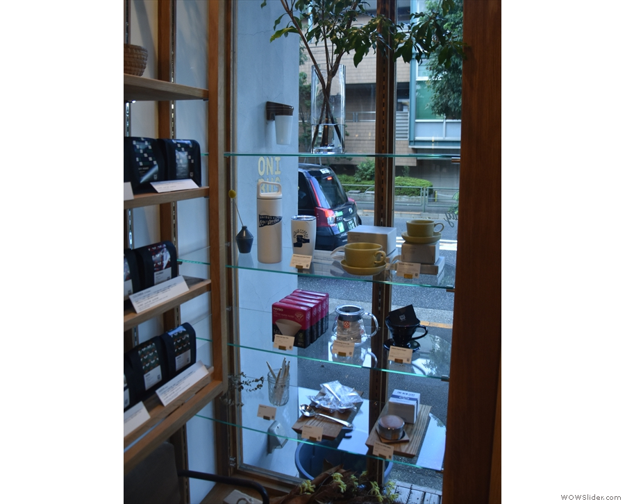... while in the window next to the door is this selection of coffee-making kit.