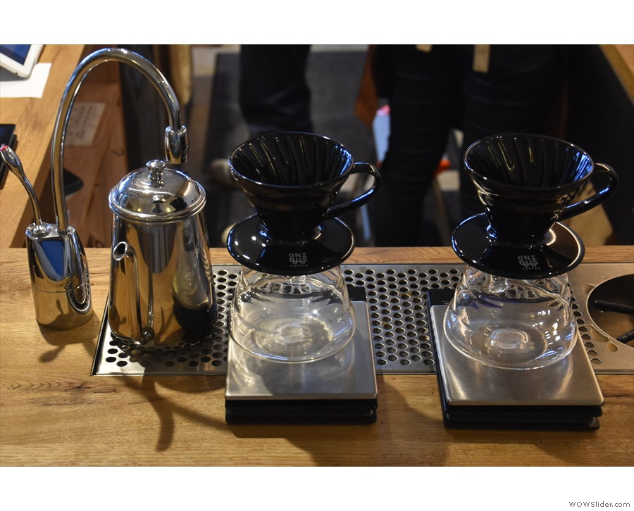 Finally, down the right-hand side of the counter, you'll find two V60s for the pour-over.