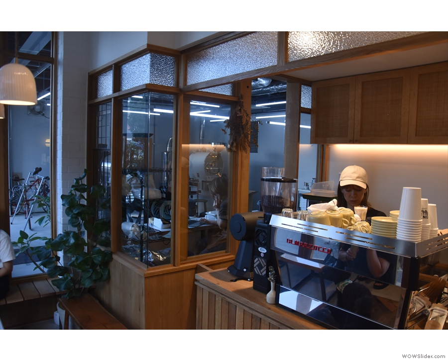 ... which can be clearly seen through the windows separating it from the coffee shop.